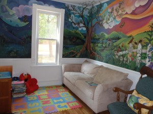 The reading area.