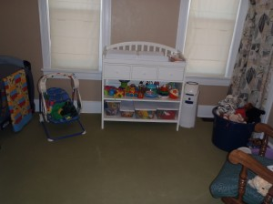 This is our quiet area for some down time. This room also has a soft floor so that our kids can get out and have some floor time.